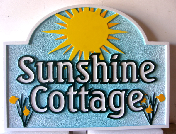 "M22356 - Carved and Sandblasted HDU Sign, ""Sunshine Cottage"", with Sun and Flowers"