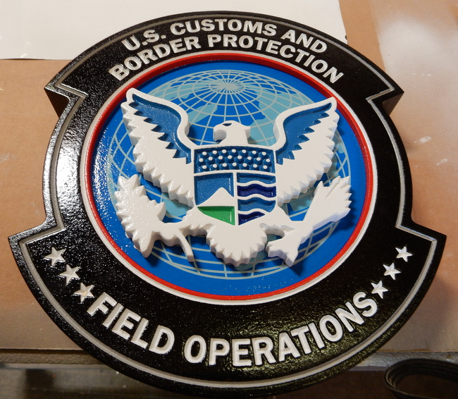U30352 - Carved 3-D  Wall Plaque for US Customs and Border Protection, Field Operations