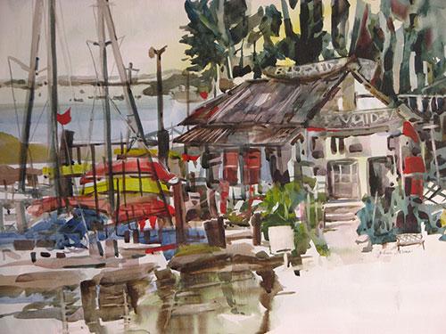 "Bayshore Marina, Morro Bay, CA, watercolor, 22"" x 30"""
