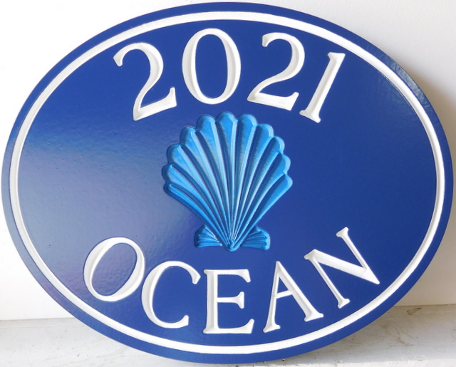 L21537 -- Engraved Coastal Residence Address Sign, with Recessed Seashell