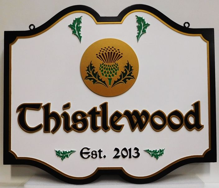 "I18250 - Carved 3D High-Density-Urethane (HDU)   Property Name Sign for the ""Thistlewood"" Residence"
