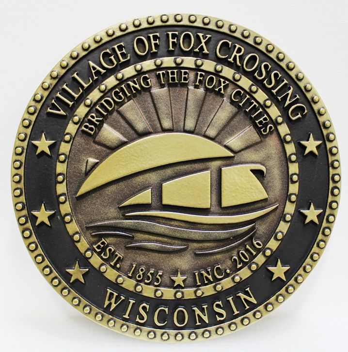 DP-1505 - Carved Plaque of the Seal of the Village of Fox Crossing, Wisconsin, 2.5-D Brass-Plated
