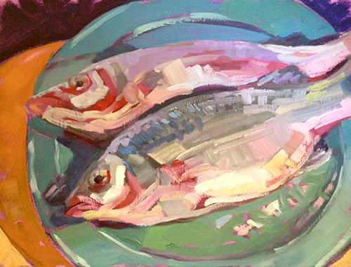 """Fish on a Teal Plate, oil on panel, 9"""" x 12"""""""