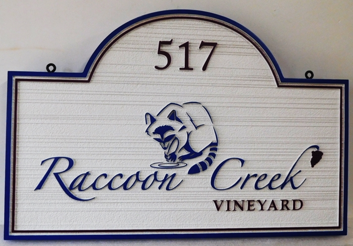 "R27072 - Entrance and Address HDU Sign for  ""Raccoon Creek Vineyard""  with a Raised Outline Carving of a Raccoon Drinking Water"