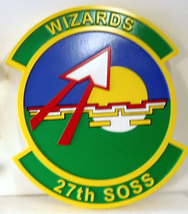 """LP-3740 - Carved Round Plaque of the Crest of the 27th Special Operations Squadron """"Wizards"""", Artist Painted"""