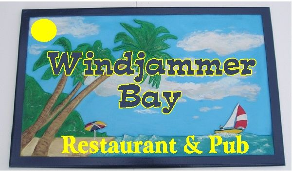 Q25164 - Design of Carved Wood Sign for Windjammer Bay Restaurant and Pub with Sailboat, Palm Trees and Beach
