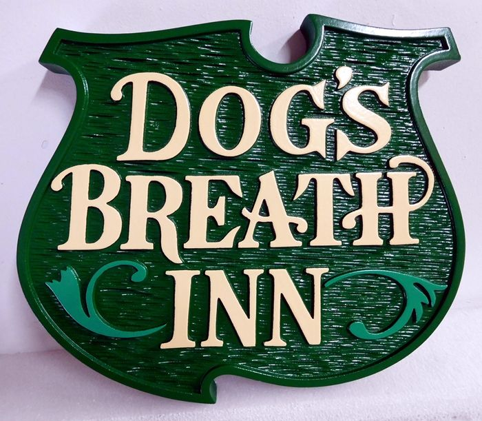 "T29029 - ""Dog's Breath Inn"" Hanging Entrance Sign, Carved in 2.5-D Relief"