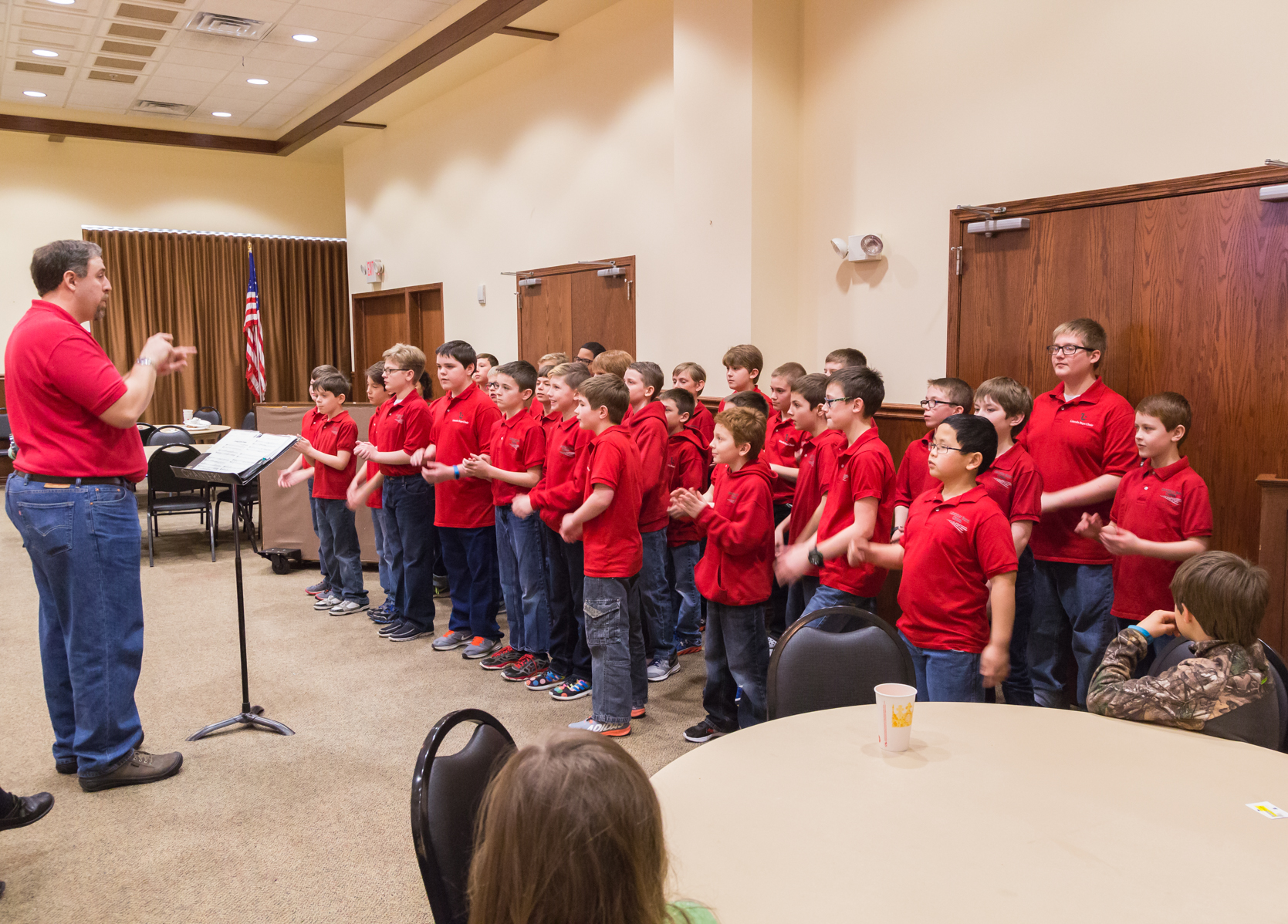 Concert Choir Red Polo w/jeans