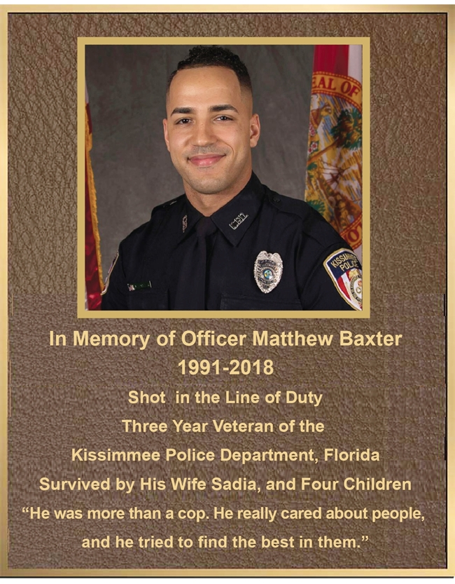 ZP-1070 - Carved Memorial Photo Plaque Honoring Police Officer, Shot in the Line of Duty, Painted  Brass and Bronze