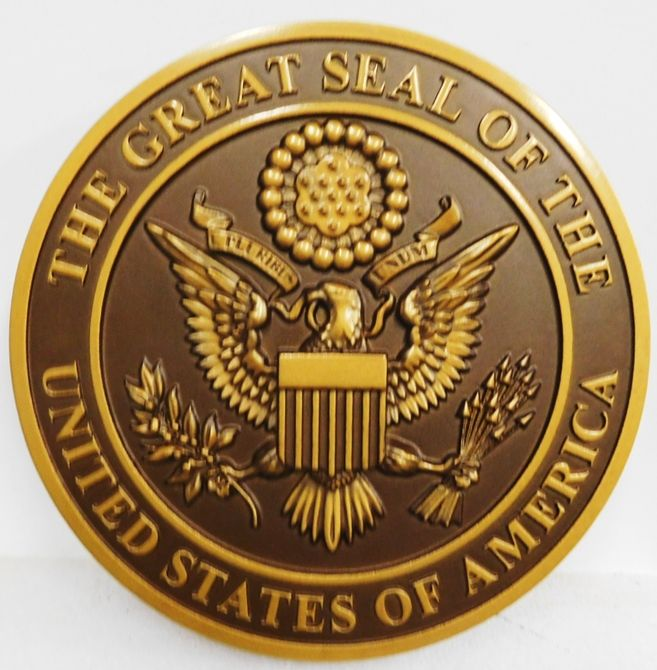 AP-1074 - Carved Plaque of the Great Seal of the United States, Artist Painted