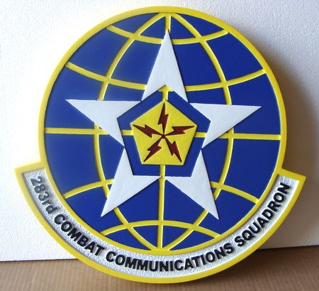 LP-4140- Carved Round Plaque of the Crest of the 283rd Combat Communications Squadron, Artist Painted