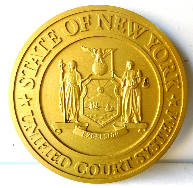 A10875 - 3-D Gold Painted Wall Plaque of the Great Seal of the State of New York, for the NY State Court System (Raised Text)
