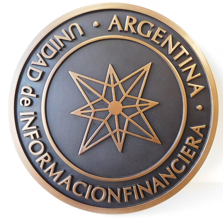 VP-1437 - Carved Wall Plaque of the Seal  of Argentina Bank, Brass Plated