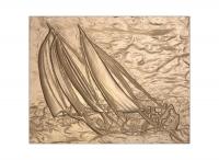L22054 - 3-D Carved Bas-Relief Sculpture of Schooner under Sail