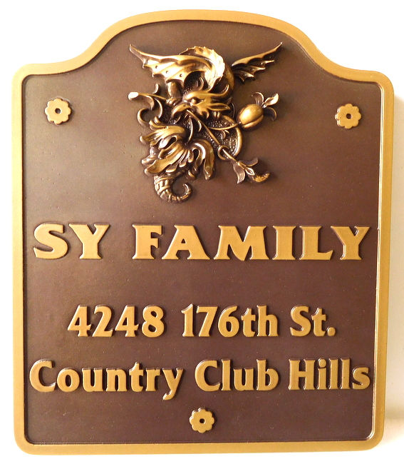 I18168 - Formal Residence Entrance Sign, with Carved 3-D Bronze Emblem/Coat-of-Arms