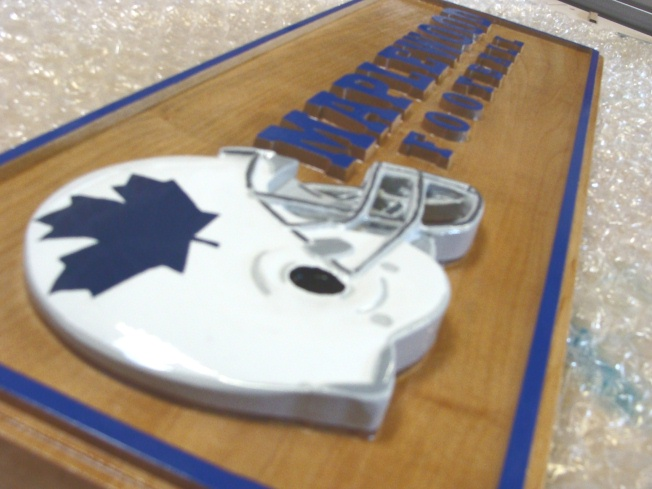"N23462 - Maple Plaque with 3-D Football Helmet and Raised Text for ""Maplewood Football Team"""