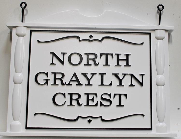 I18159 - 3-DColonial-Style Wood Sign for North Graylyn Crest