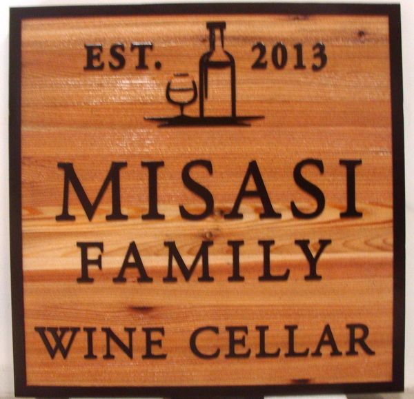 "R27037 - Sandblasted Cedar Wall Plaque for Misasi Family Wine Cellar, ""EST. 2013"" with Carved Wine Bottle and Wine Glass"