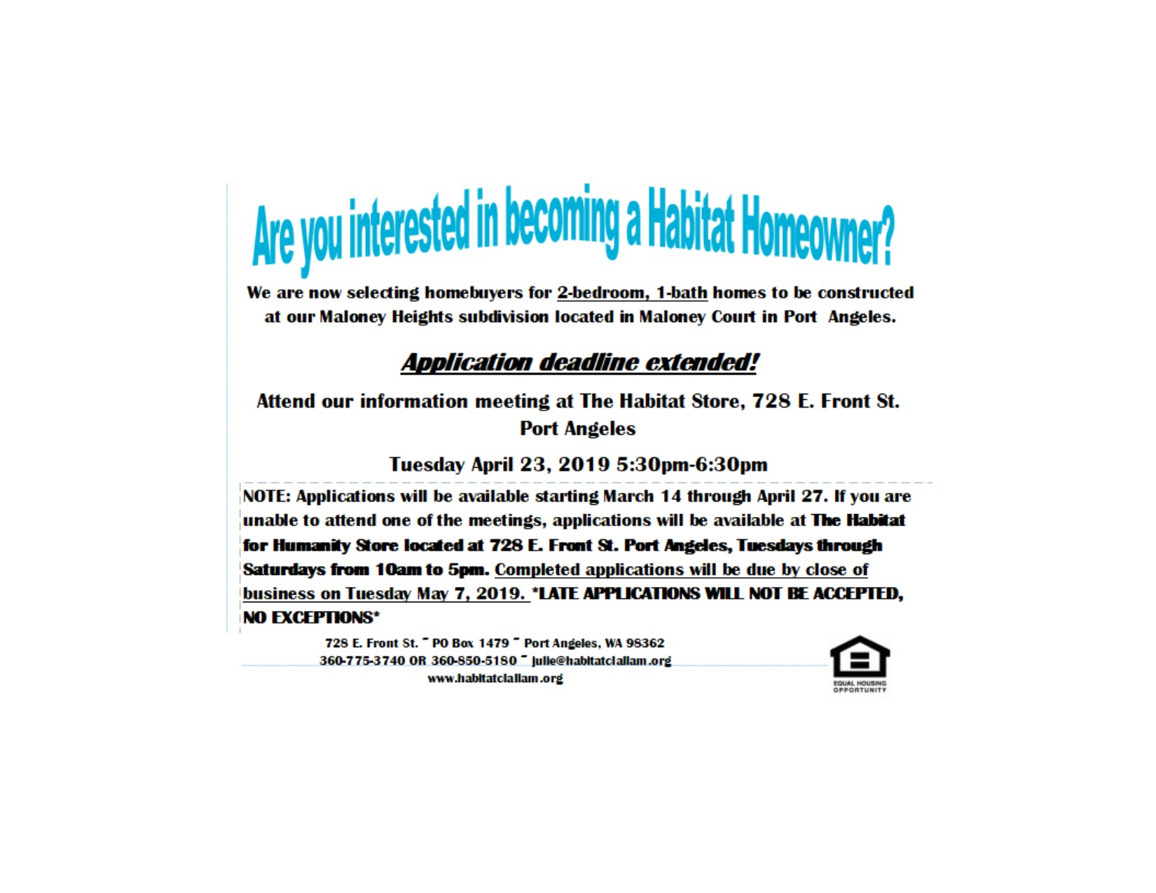 Are you interested in becoming a Habitat Homeowner?Application Deadline Extended!