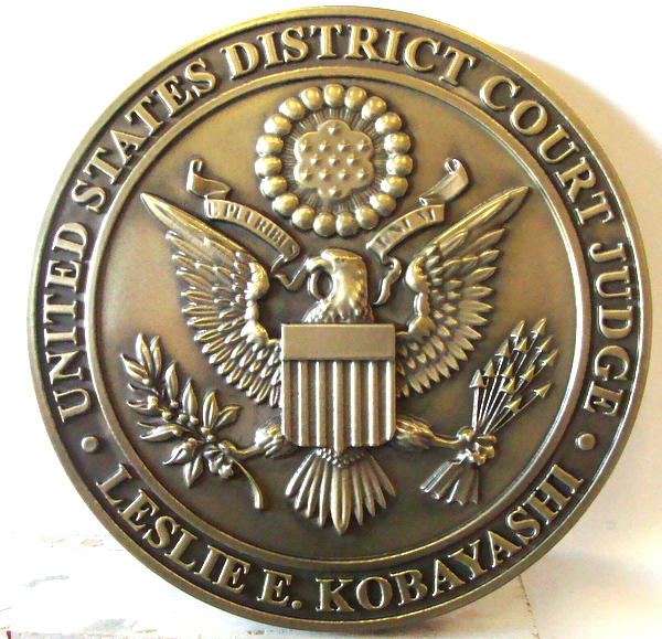 U30132 - 3-D Bas-Relief Polished  Brass Wall Plaque for United States District Court Judge