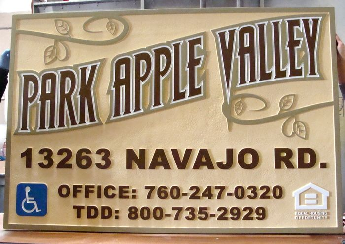 K20153 -Carved  HDU Entrance Sign, for Park Apple Valley Apartments