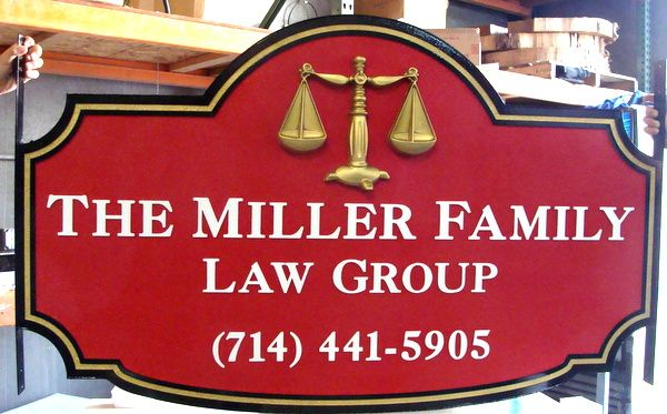 A10026 – The Miller Family Law Group Entrance Sign  with 3-D Scales of Justice