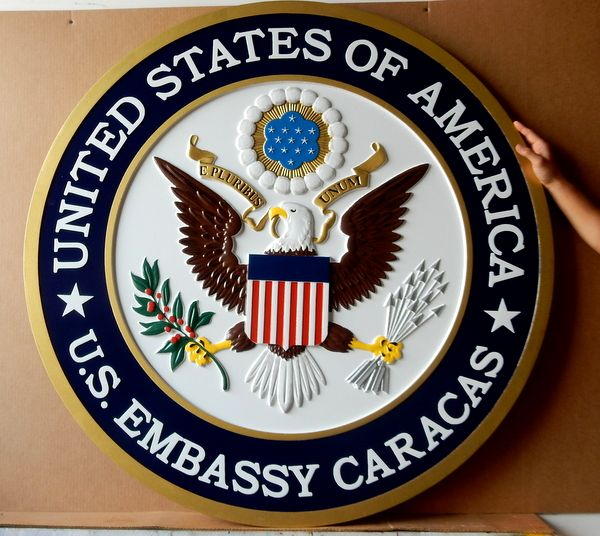 U30327 - Carved 3-D Hand-painted Wall Plaque of Great Seal of the US for the US Embassy in Caracas, Venezuela