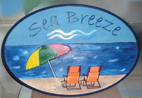 "L21470 -Beach Condo Carved Door Sign, ""Seabreeze Cottage"""