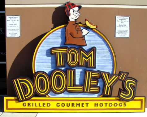 "Q25801 - Dimensional Carved HDU Sign for Gourmet Hotdog Restaurant ""Tom Dooley's"""
