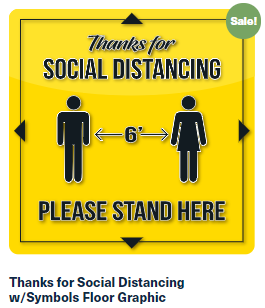Thanks for Social Distancing w/Symbols Floor Graphic