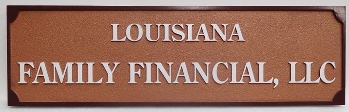 C12123 - Carved Sign for Financial Services firm,  2.5-D Relief with Raised Text and Border and Sandblasted Background