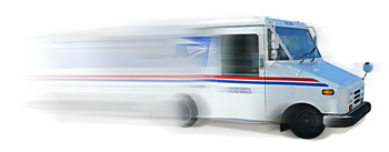 speeding mail truck