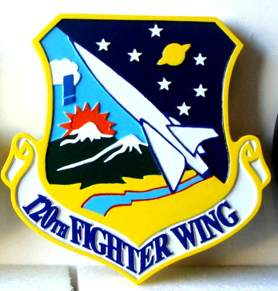 V31590 - Carved Wooden Wall Plaque of the Shield and Crest of the 120th Fighter Wing, USAF