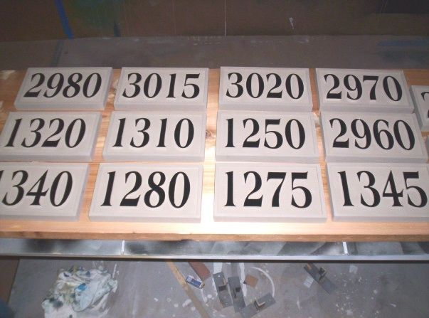T29217- Carved   High-Density-Urethane (HDU) Room Number Plaques with Raised  Numbers