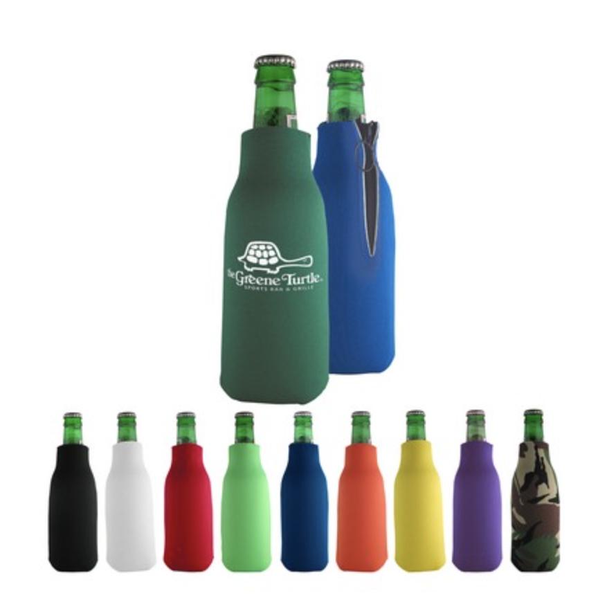 Custom Printed Zippered Bottle Beverage Insulator (Purple)