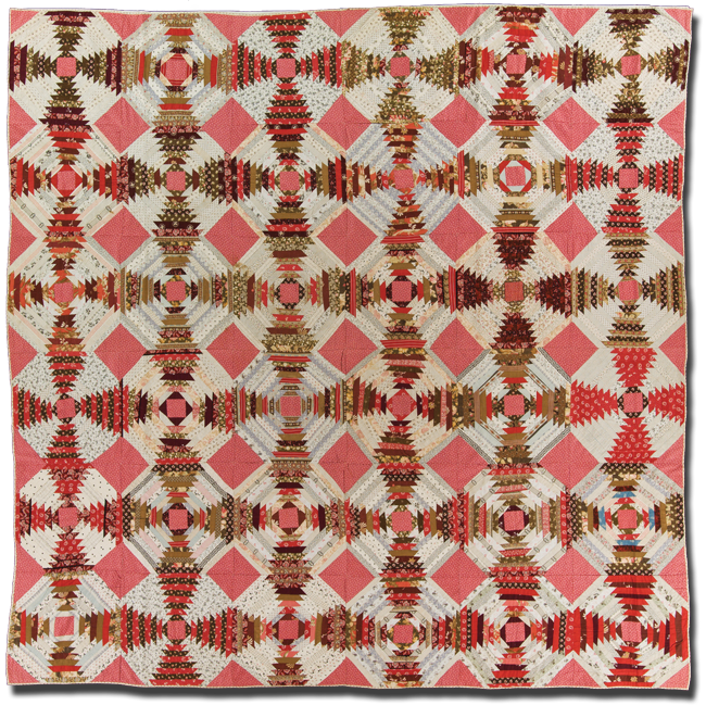 Log Cabin (Pineapple variation), Maker unknown, Made in United States, Circa 1880-1900, 85.5 x 86 in, IQSC 2003.003.0242