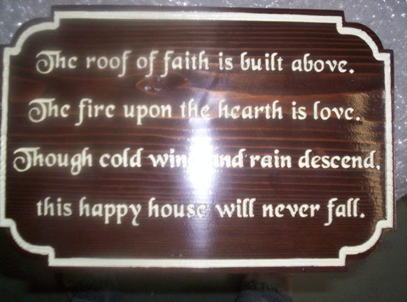 """N23052 - Engraved Dark Stained Plaque with Poem """"Thus Happy House"""" Poem"""