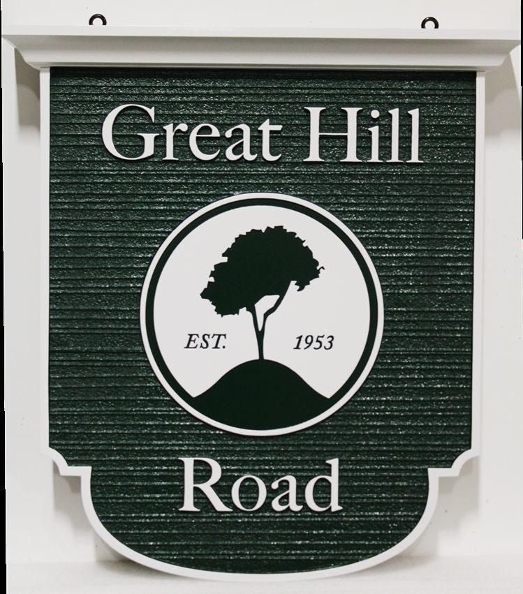 H17082- Carved HDU Hanging Street Name  Sign, Great Hill Road, with a Tree as Artwork