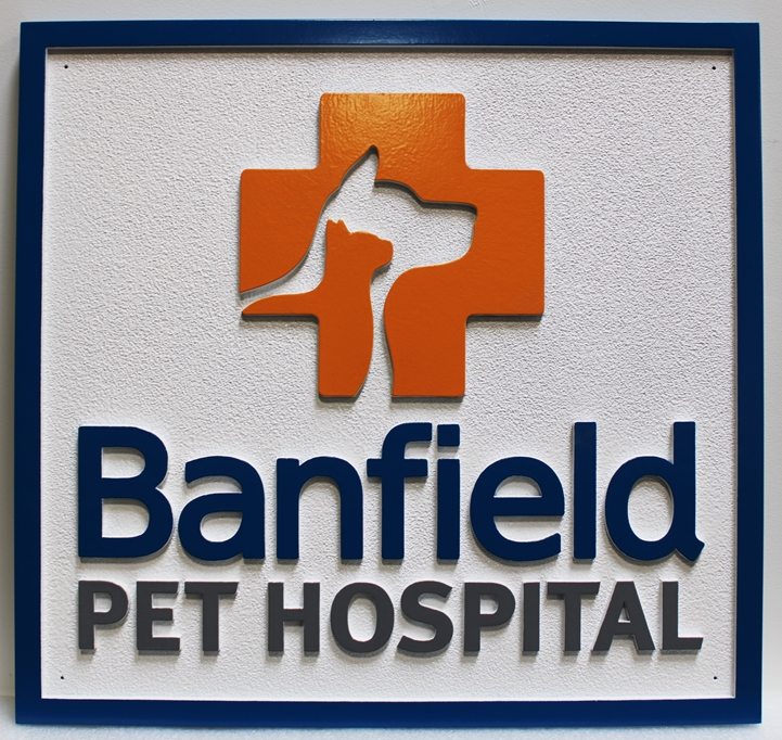 BB11720  - Carved  HDU Entrance Sign for Banfield Pet Hospital, 2.5-D Artist-Painted