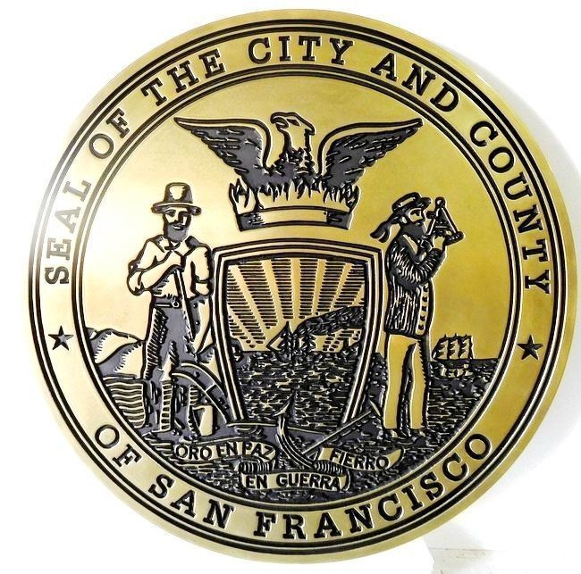 X33408 - Engraved Brass-plated HDU Plaque of the Seal of the City and County of San Francisco