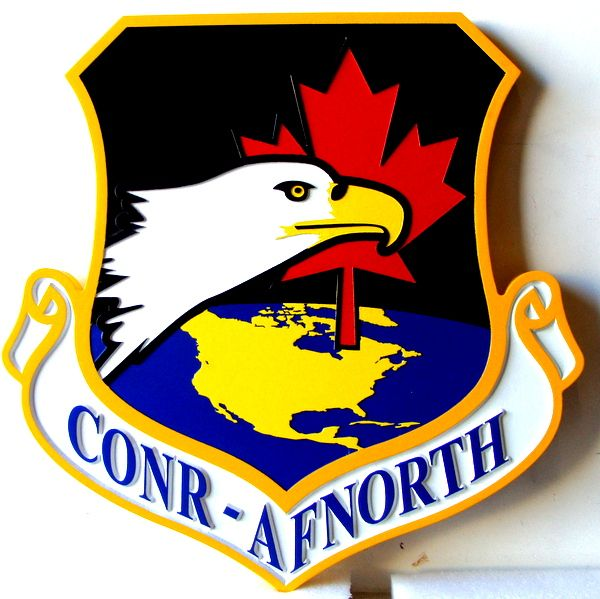 V31581 - Carved Wood Shield Wall Plaque with Crest of CONR - Air Force North