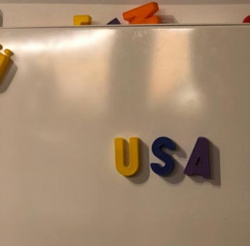 October 2018 - USA spelled out with fridge magnets