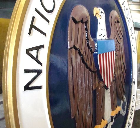 V31142- 3-D  Bas Relief Carved Wood Wall Plaque for NSA (closeup, side view)