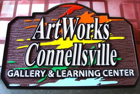 "FA15665 - Carved and Sandblasted Wood Grain Art Gallery & Learning Center Carved Wood Sign for High School""ArtWorks Gallery & Learning Center"""