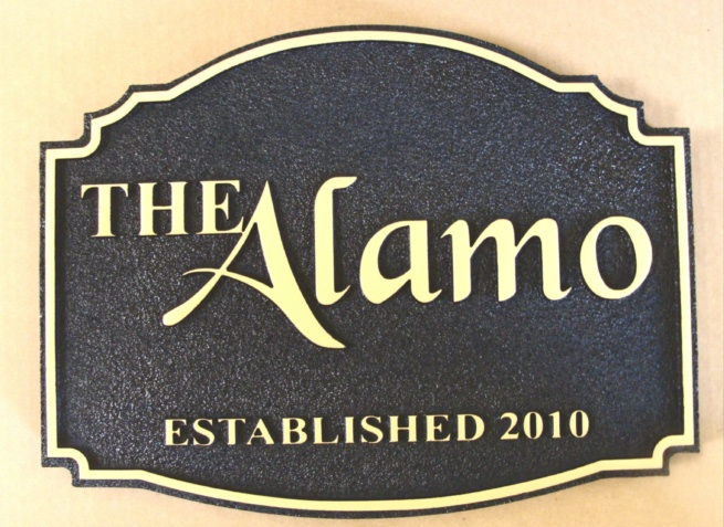 "RB27140 - Black & Gold Hotel Bar ""The Alamo"" Sign"