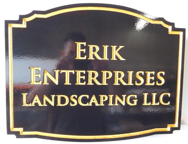"""S28090 -Carved Engraved Sign Made for the """"Erik Enterprises Landscaping"""" Business"""
