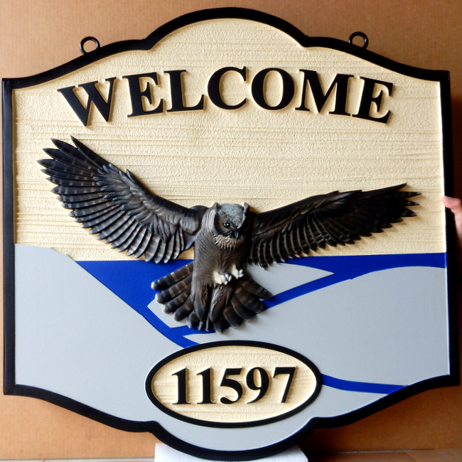 M22726 - Welcome Address Sign with Great Horned Owl in Flight