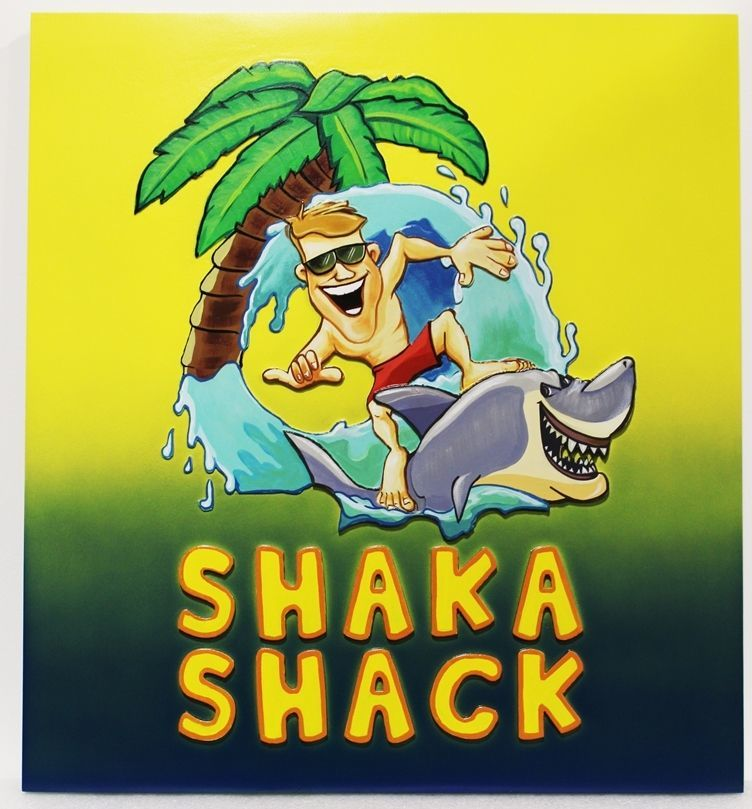 "L21041 Carved 2.5D HDU   Beach House Name Sign. ""Shaka Shack"",with  a Cartoon Surfer with Sunglasses Standing on  a Shark ,  a  Large Breaker and a Palm Tree as Artwork"