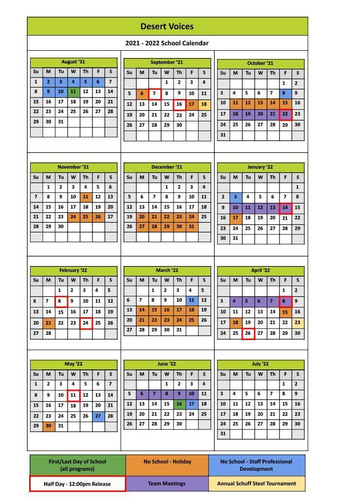 2021 - 2022 School Year Calendar