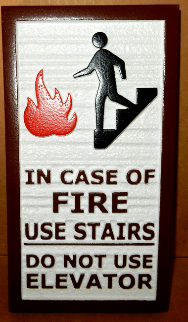 "T29448  - Carved and Sandblasted  HDU  Sign ""In Case of Fire""  for Inn"